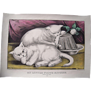 "Hand Colored Currier & Ives Print ""My Little White Kitties Taking The Cake"""