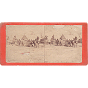 Civil War Stereoview Soldiers in front of Cabins