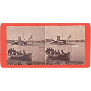 Civil War Stereoview Soldiers in Canoe on their way to a Monitor