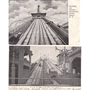 Lot 14 Early B+W Coney Island Park Postcards