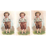 "Hires Root Beer Advertising Victorian Trade Card ""His 1st  Suspenders"" (3 Available)"