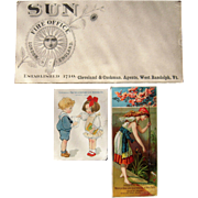 Lot 3 Advertising Trade Cards and Blotter for Insurance Companies