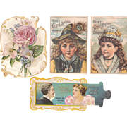 Lot 4 Victorian Perfume Advertising Trade Cards (incl 1 Mechanical Card)