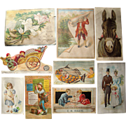 Lot 9 Advertising Trade Cards for Coffee and Tea