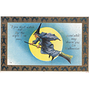 1912 Halloween Postcard of Flying Witch on Broom