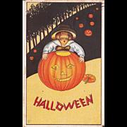1914 Halloween Postcard Child w/Giant Pumpkin