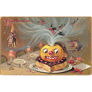 1908 Halloween Postcard Pumpkin w/Witches on Dinner Table