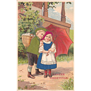 1914 Easter Postcard Children w/Applied Silk
