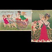 Pair 1910s Valentine Postcards w/Applied Silk