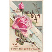 """Veterinary Victorian Advertising Trade Card """" S and S Horse and Cattle Powder"""""""