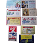 Lot 9 Medicine Advertising Ink Blotters, 1920s-1940s