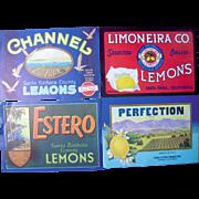 Lot 33 Vintage California Lemon Crate Labels