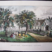Antique Currier & Ives Hand Colored Lithograph American Homestead Autumn