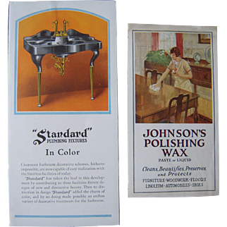 Pair 1920s Color Household Advertising Flyers