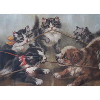 """1901 Framed Yard Long """"The Tug of War"""" w/ Kittens and Puppies"""