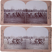 Pair 1897 Stereoviews of Closeup of Football Players in Game or Practice