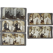 Set of 5 1903 Comic Stereoviews of Husband Going Out, Getting Drunk, etc