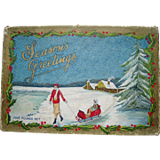 c1920 Large Color Advertising Chocolate Christmas Candy Box