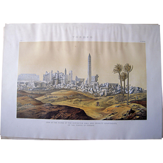 Large 1887 Color Lithograph of Ancient Egyptian Ruins