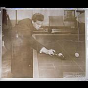 c1920 Large Sepia Tone Photograph of Pool (Billiard) Player