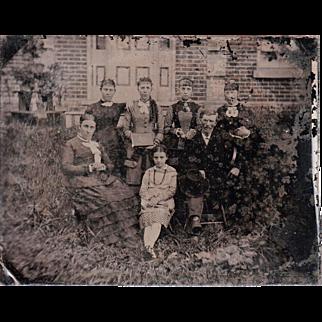 Half Plate Outdoor Tintype of Victorian Era Family