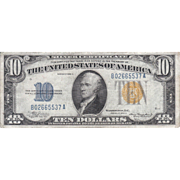 $10 US Silver Certificate Series 1934A w/Yellow Seal