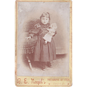 c1890s Cabinet Card Photo of Girl Holding Doll from Lansford, PA