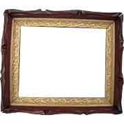 "Victorian Era Carved Deep Walnut Picture Frame w/Gold Liner 9"" x 11"""