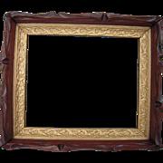 "Victorian Era Carved Deep Walnut Picture Frame w/Gold Liner 9"" x 11"""