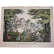 """c1870 Large Hand Colored Lithograph """"Summer Scene"""""""