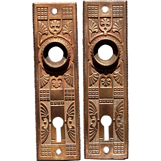 Pair 1888 Ornate Solid Brass Victorian Doorplates