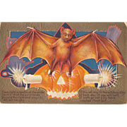 Halloween Postcard with Large Bat