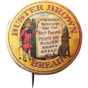 Large c1910s Advertising Pinback Buster Brown Bread