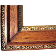 "Large Ornate Victorian Oak Picture Frame w/Gold Liner 19"" x 25"""