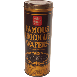 c1930s Advertising Tin for Nabisco Famous Chocolate Wafers