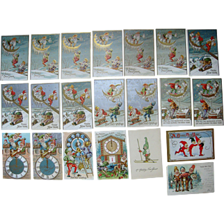 Lot 21 New Years (Gnomes/Elves) Postcards 1900s/1910s