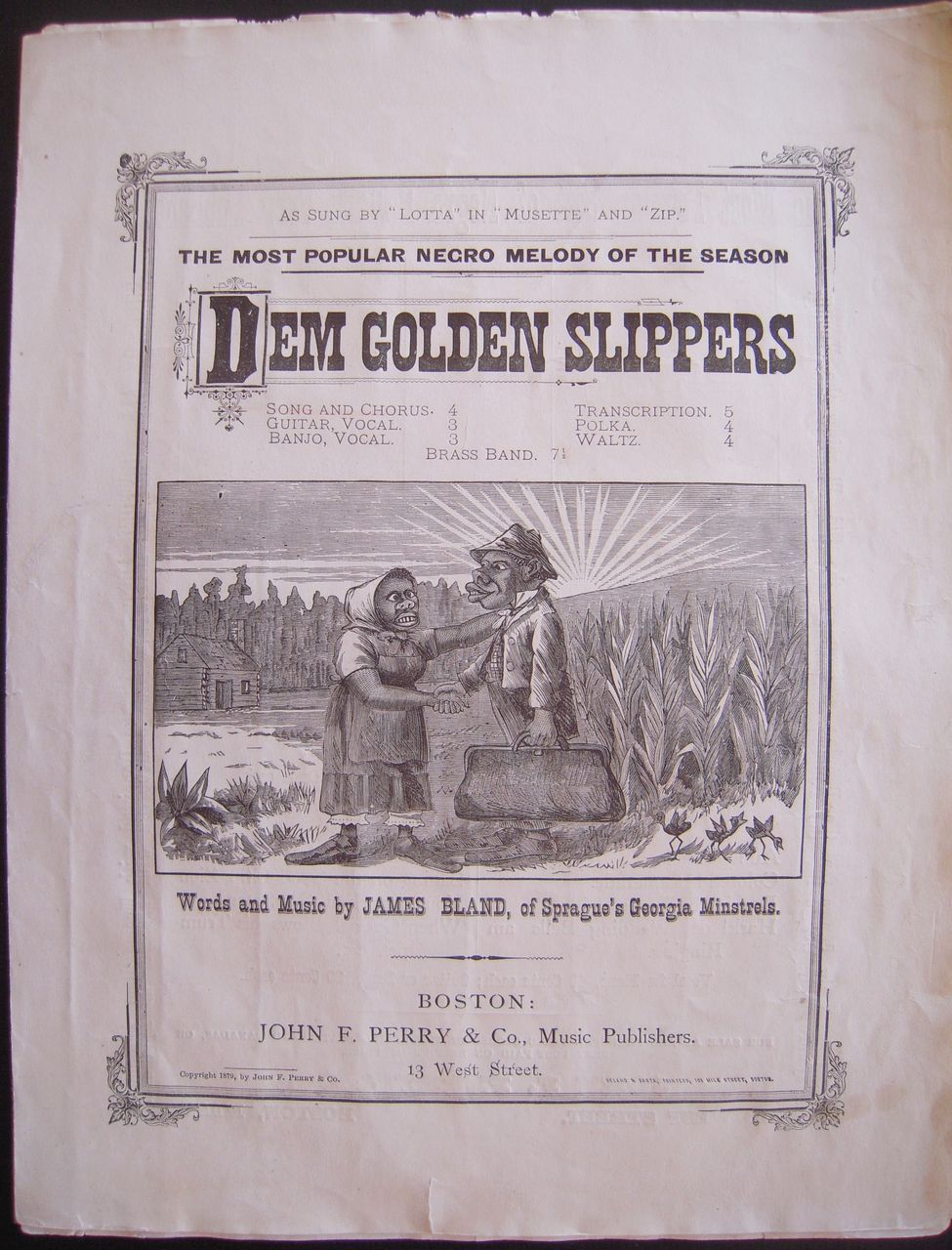 1879 sheet music dem golden slippers from bluesprucerugsandantiques on ruby lane. Black Bedroom Furniture Sets. Home Design Ideas