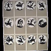 "Complete Set of 12 German Artist Signed Silhouette Postcards ""Walpurgisnact"""