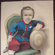 Advertising Hand Colored Currier and Ives Print Little Manly #1