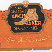 c1920 Advertising Standup for Star Brand Mens Shoes