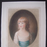 1925 Signed Color Lithograph of Red Headed Girl