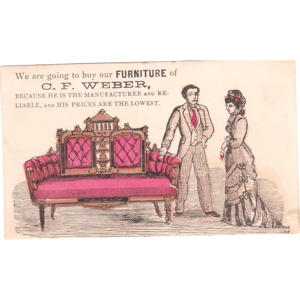 C1870s Furniture Trade Card From Bluesprucerugsandantiques On Ruby Lane