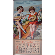 Large 1930 Advertising Calendar Children w/Mandolins
