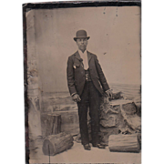 Sixth Plate Tintype Black Man w/Cigar & Bowler Hat #6 - Red Tag Sale Item