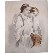 Large Mid 1800s Hand Colored Lithograph w/ 2 Women and Dog