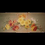 Victorian Era Yardlong of Chrysanthemums