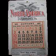 1892 Advertising Calendar N America Insurance Co.