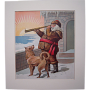 c1890s Santa with Telescope & Dog Color Lithograph