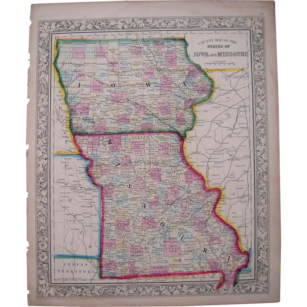 1861 Hand Colored Map Iowa Missouri From