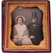 Sixth Plate Daguerreotype Man w/Top Hat and Wife